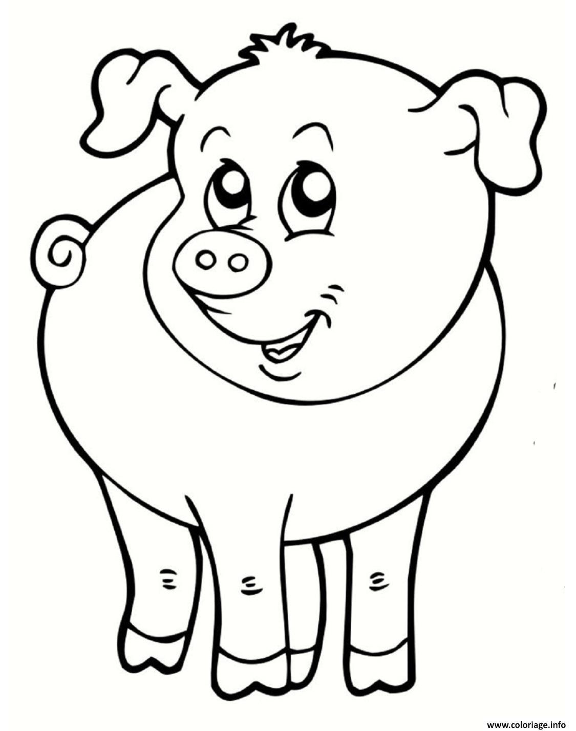Coloriage cochon souriant animal de la ferme dessin - Dessin de ferme ...