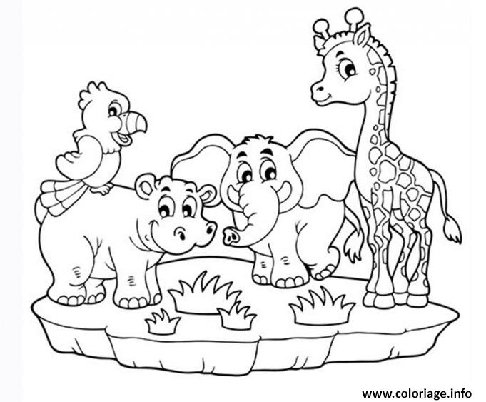 Coloriage animaux maternelle de la jungle - Dessin de jungle ...
