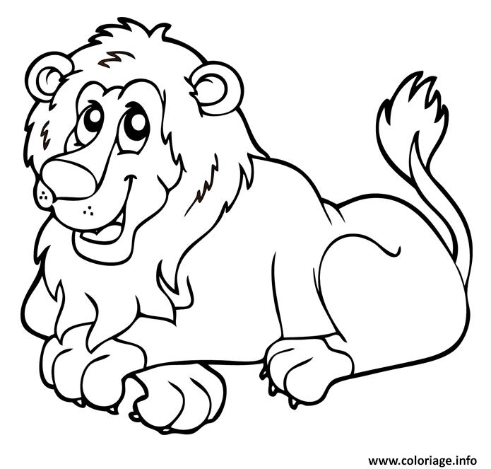 Coloriage Lion Animaux Sauvages De La Jungle Dessin