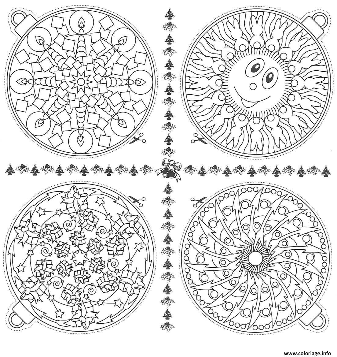 Coloriage boules de noel mandala dessin - Coloriage de mandala de noel ...