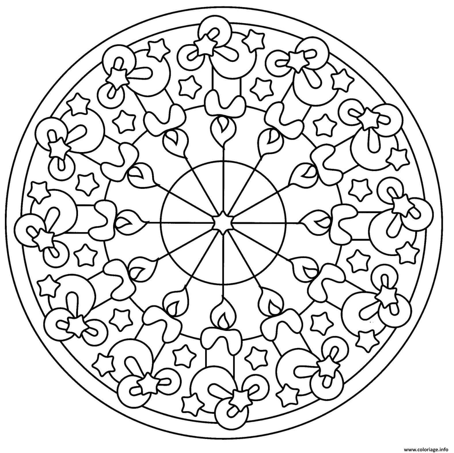 Dessin chandelles mandala de noel Coloriage Gratuit à Imprimer