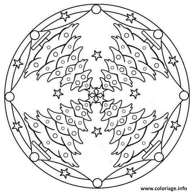 Dessin christmas mandala sapins de noel Coloriage Gratuit à Imprimer