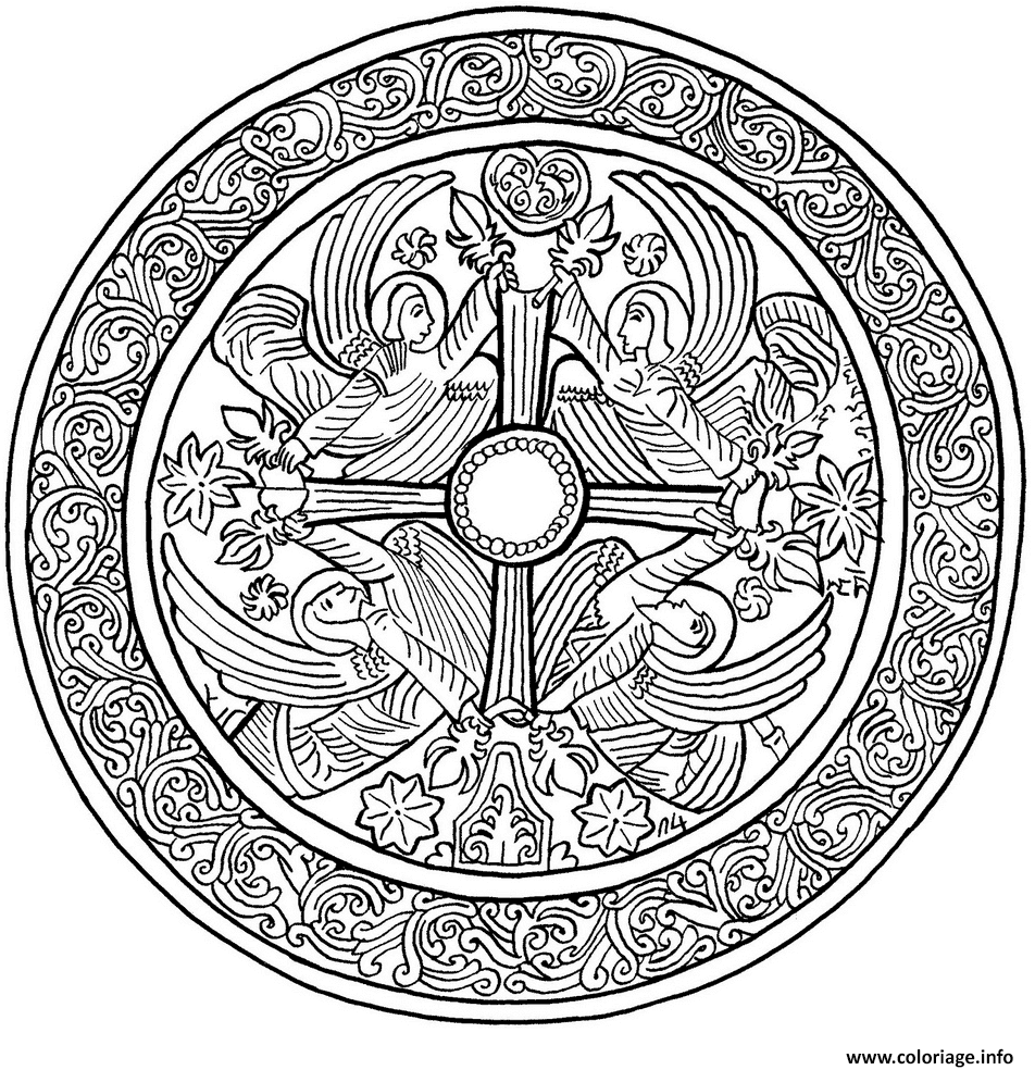 Coloriage Christmas Mandala With Angels Dessin à Imprimer