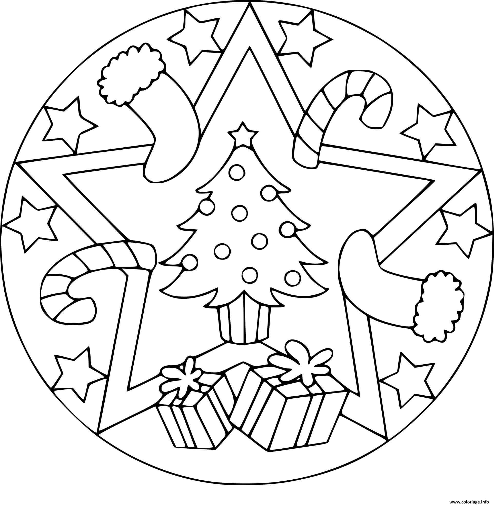 Coloriage Mandala Noel En Ligne.Coloriage Mandala Noel Sapin Cadeaux Dessin