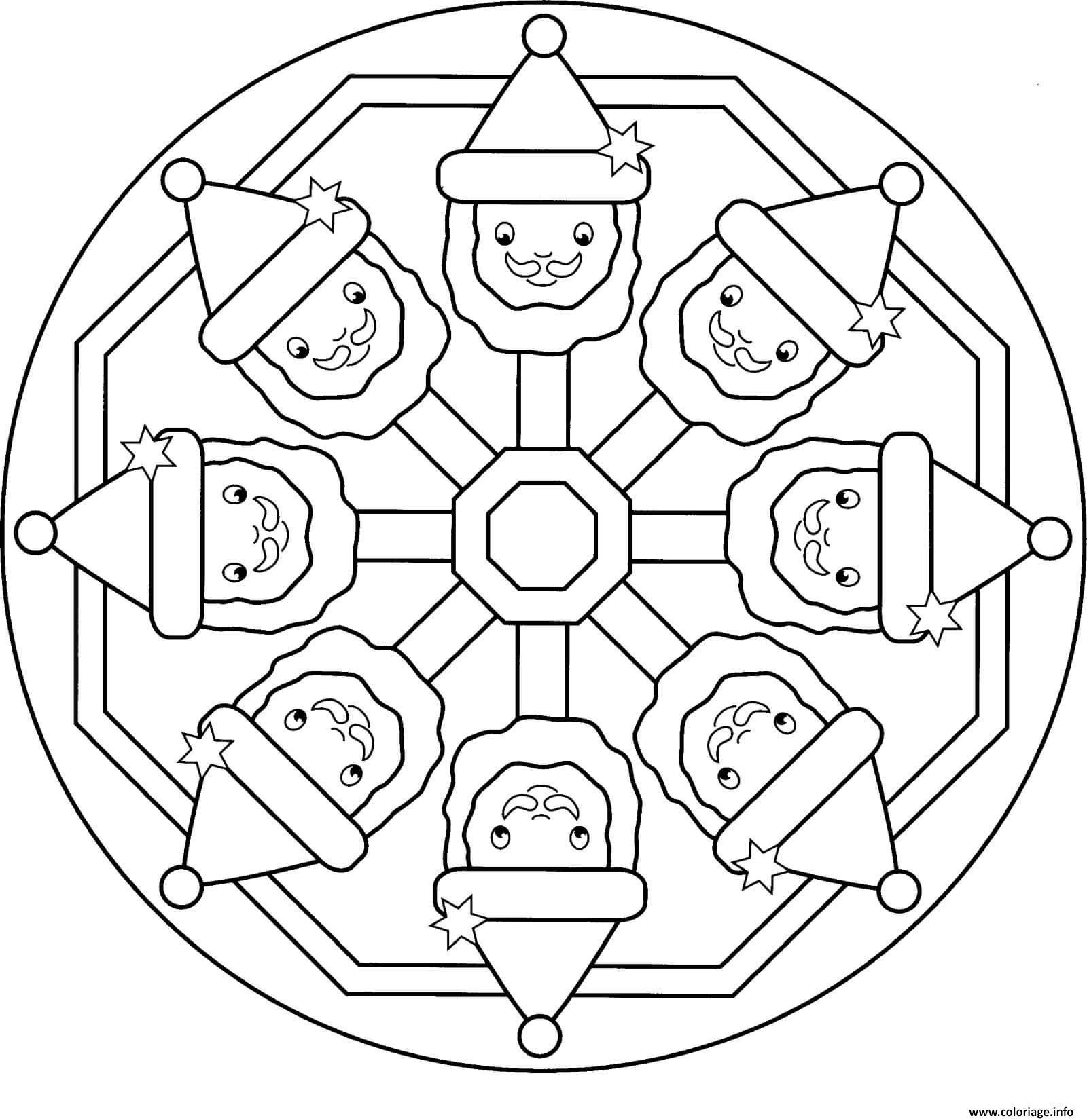 mandala pere noel facile enfant coloriage dessin