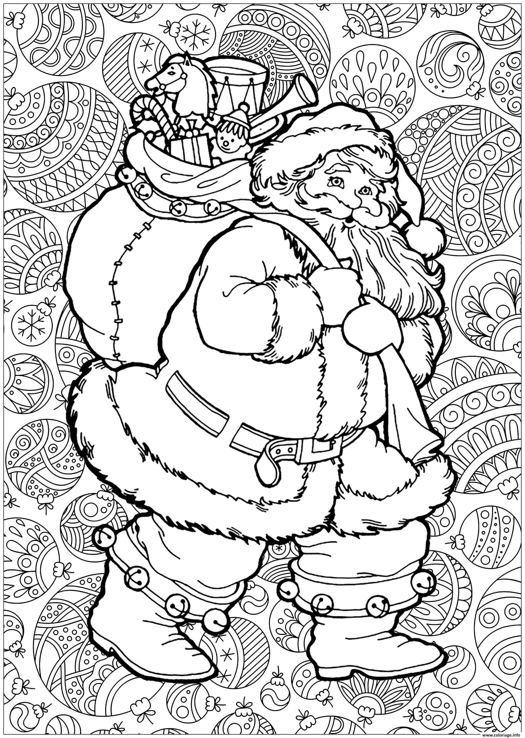 Coloriage Adulte Pere Noel Avec Fond De Boules De Noel dessin