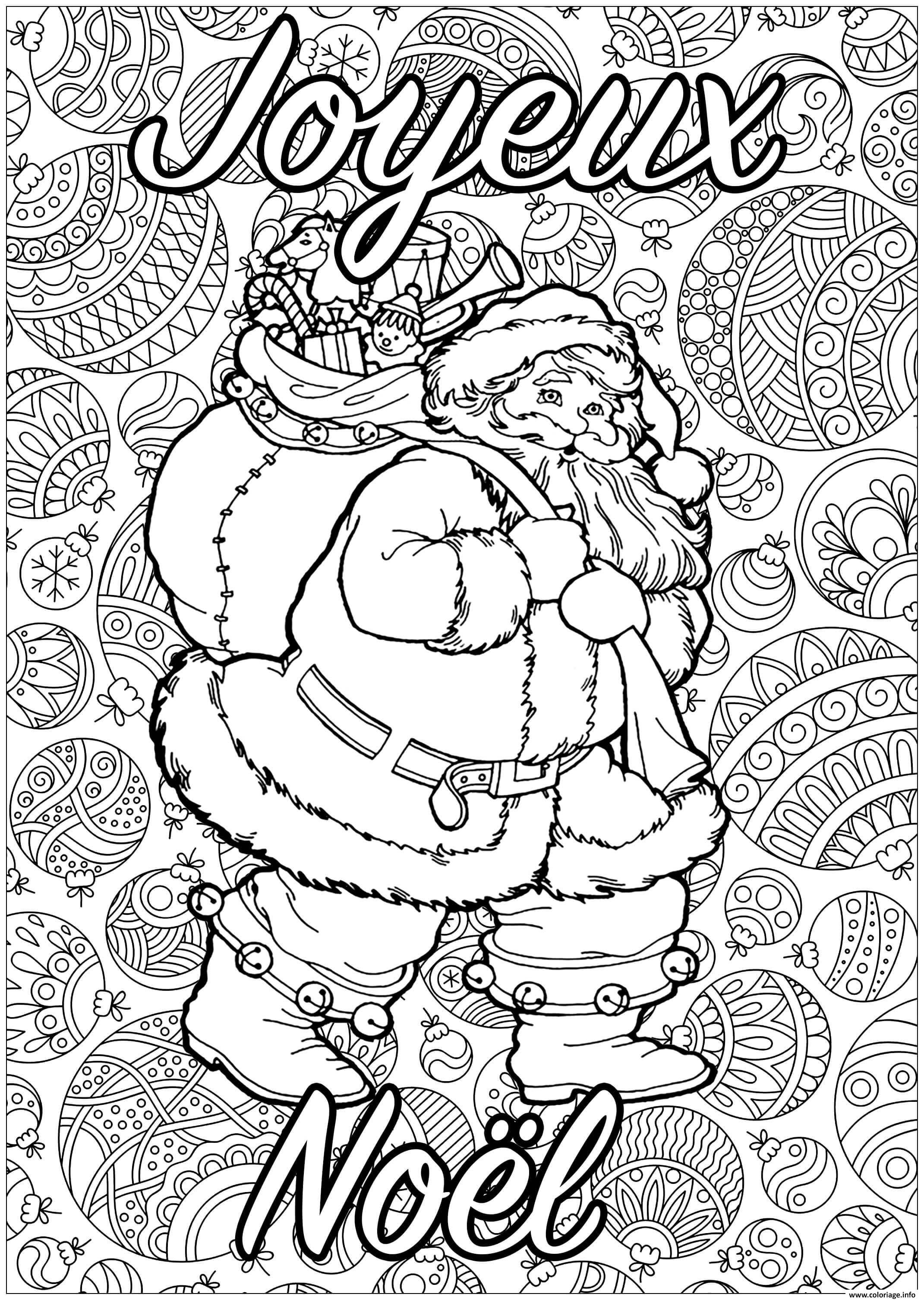 Coloriage Adulte Pere Noel Joyeux Noel Dessin