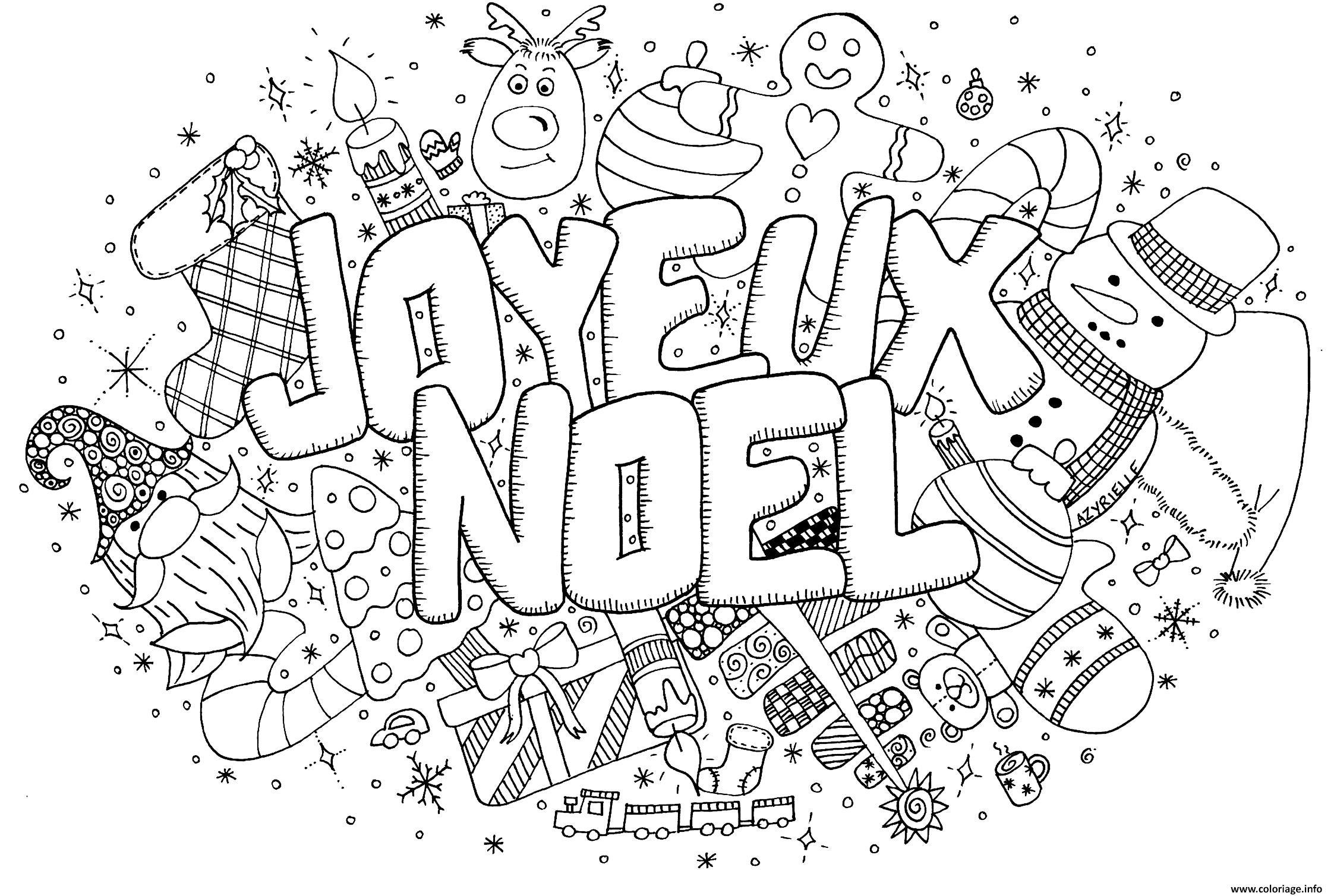 Coloriage Adulte Doodle Noel Par Azyrielle Dessin