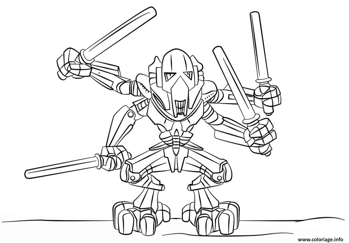 coloriage lego star wars general grievous dessin imprimer - Coloriage En Ligne Star Wars