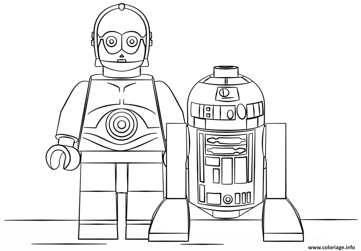 Coloriage Lego Star Wars R2d2 And C3po Jecolorie Com