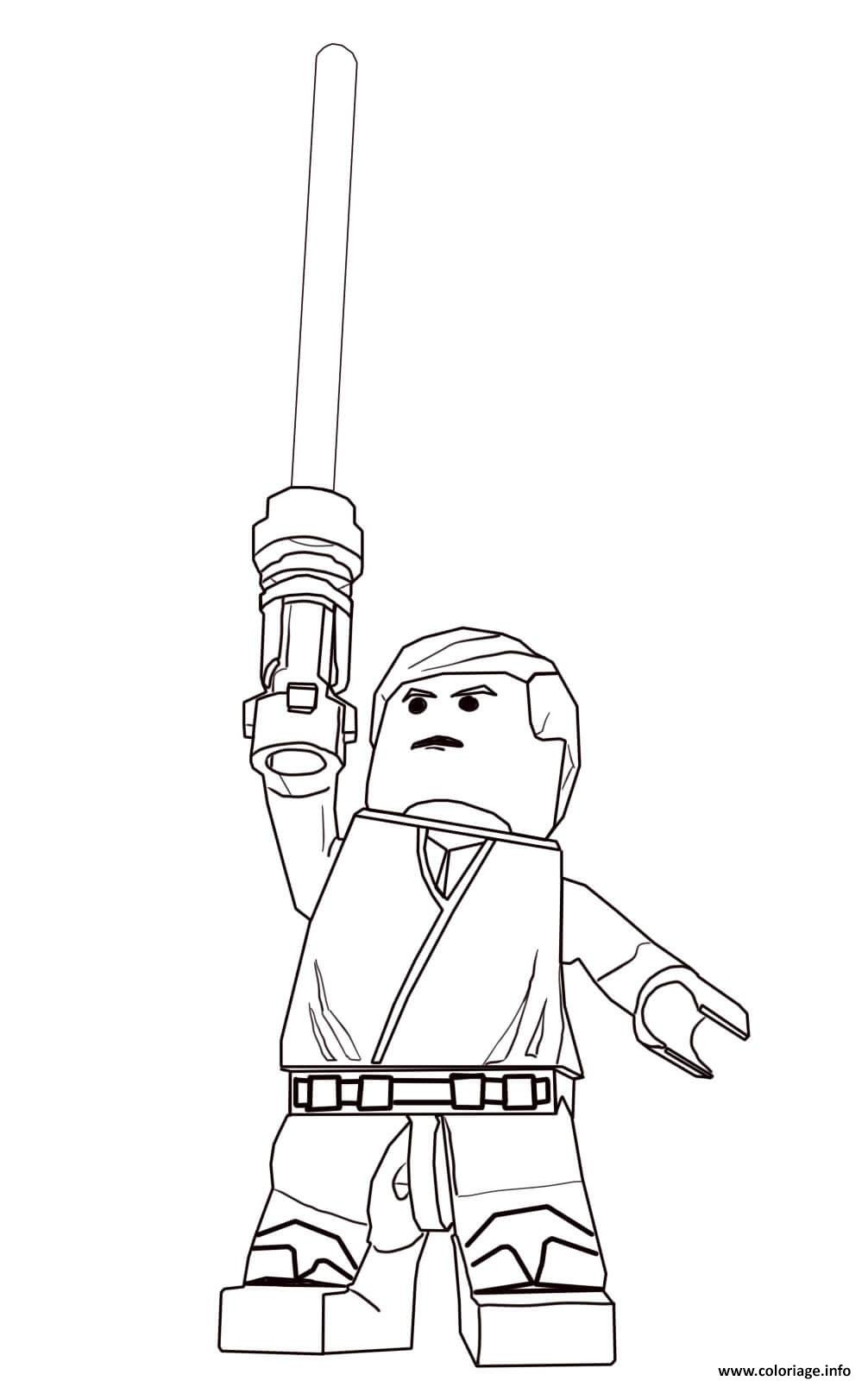 Coloriage Lego Star Wars Luke Skywalker Dessin