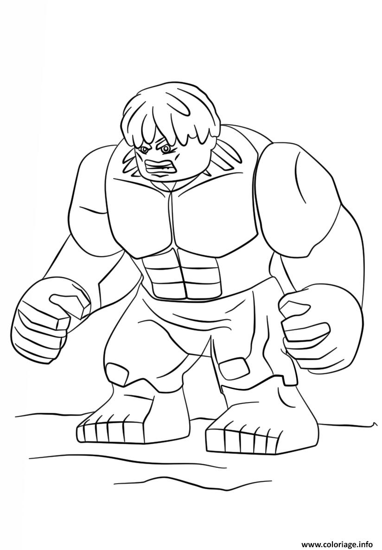 Coloriage Lego Hulk Super Heroes dessin