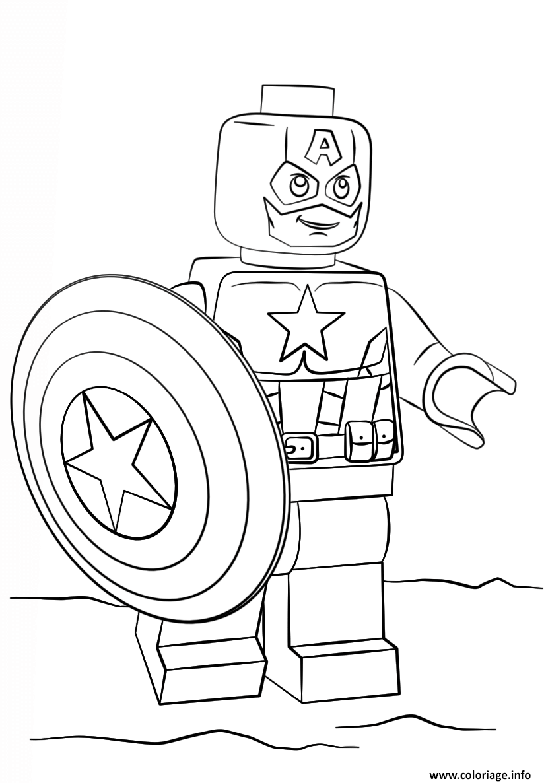 Dessin lego captain america super heroes Coloriage Gratuit à Imprimer