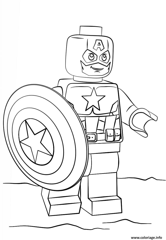 Coloriage Lego Captain America Super Heroes Dessin