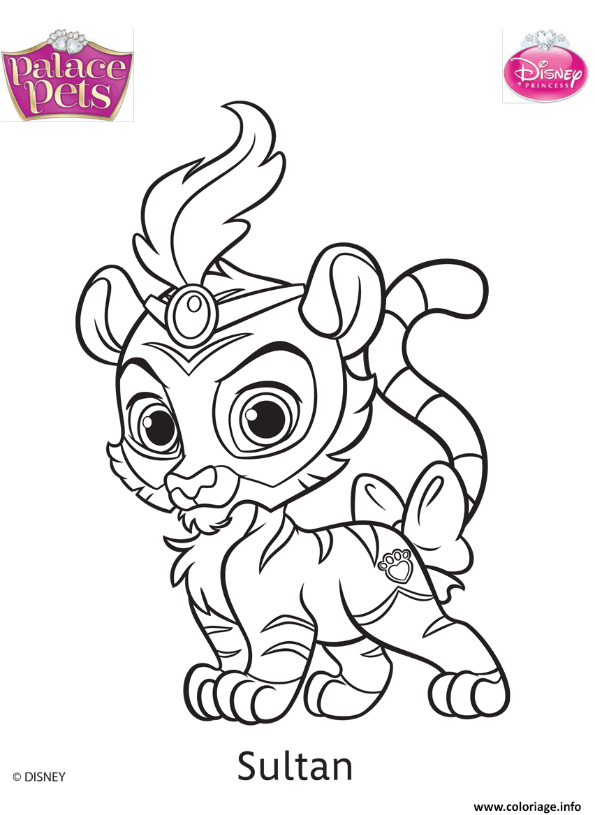 Coloriage Animaux Disney.Coloriage Palace Pets Sultan Disney Jecolorie Com