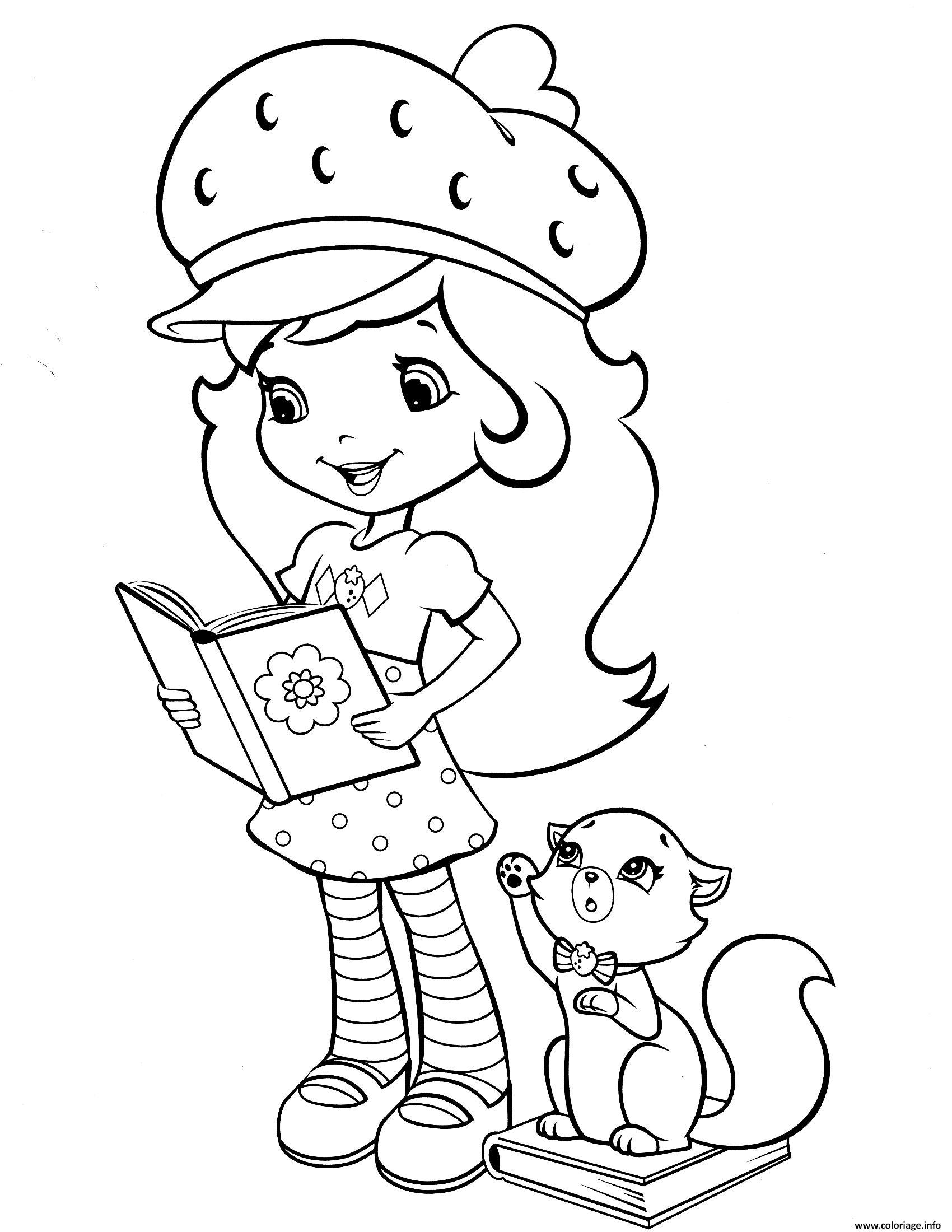 Dessin fraisinette aime la lecture Coloriage Gratuit à Imprimer