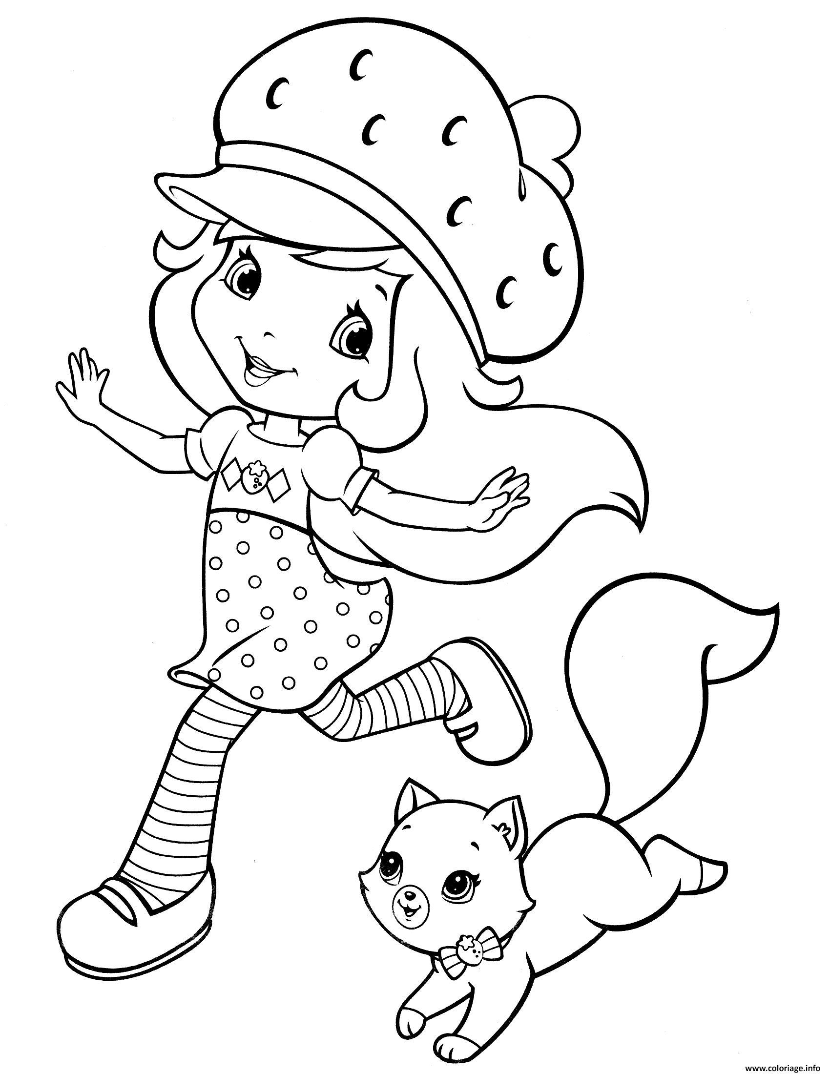 Dessin la belle fraisinette et son chat Coloriage Gratuit à Imprimer