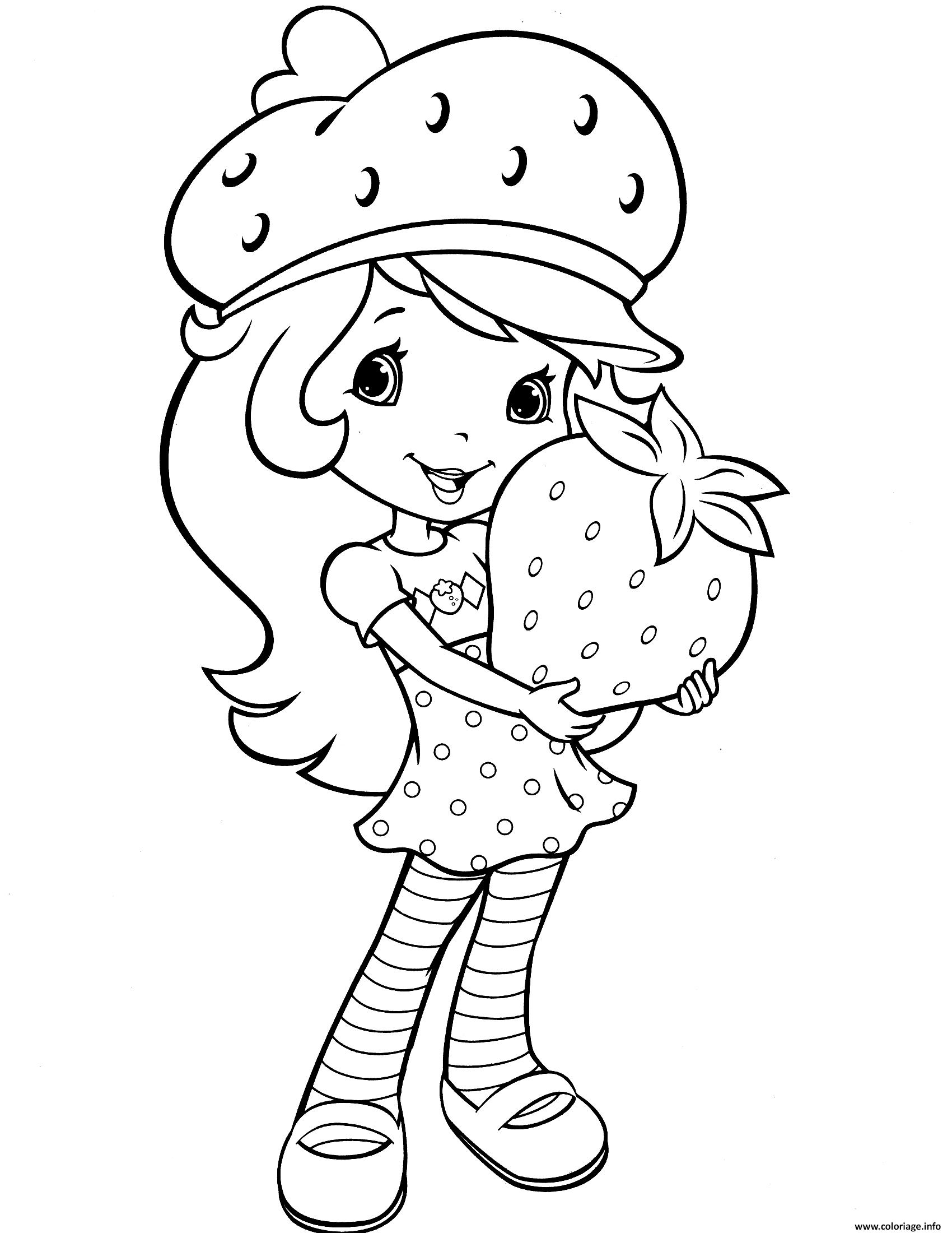 Dessin Fraisinette avec une fraise Coloriage Gratuit à Imprimer