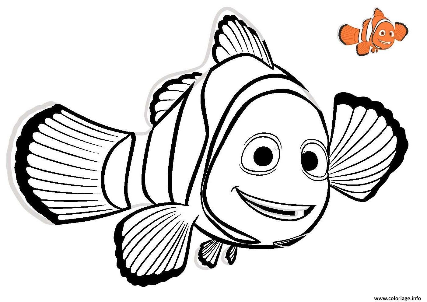 Coloriage nemo 2 poisson rouge disney - Image de poisson a imprimer ...