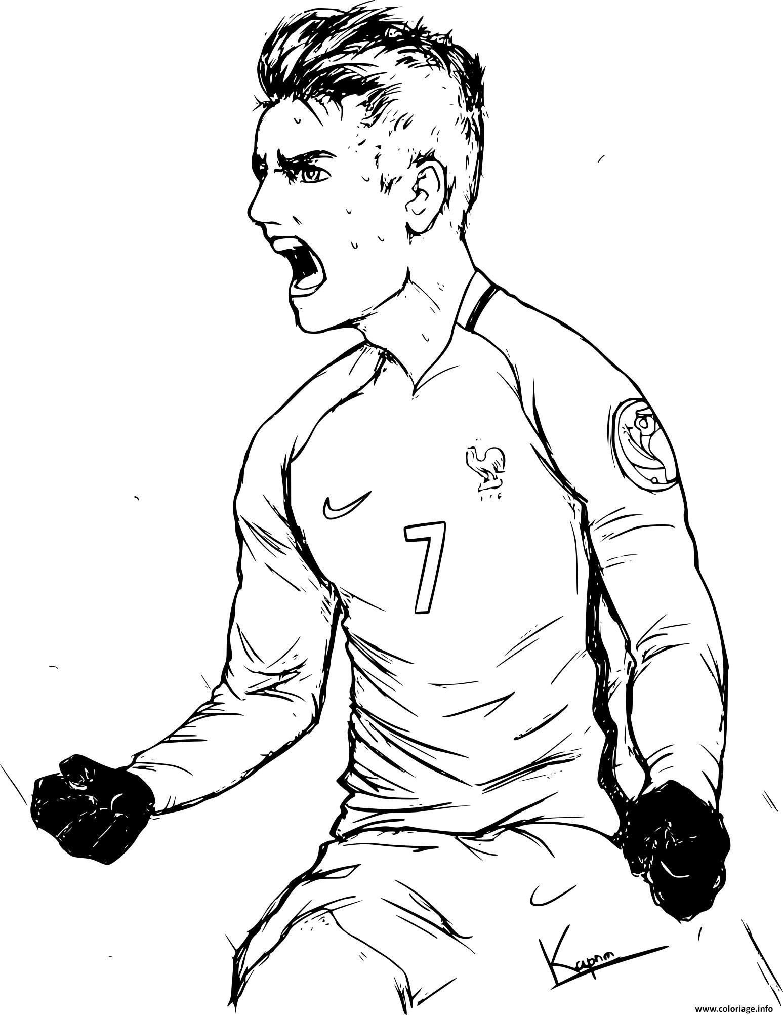 Coloriage joueur de foot antoine griezmann equipe de france - Comment dessiner un but de foot ...