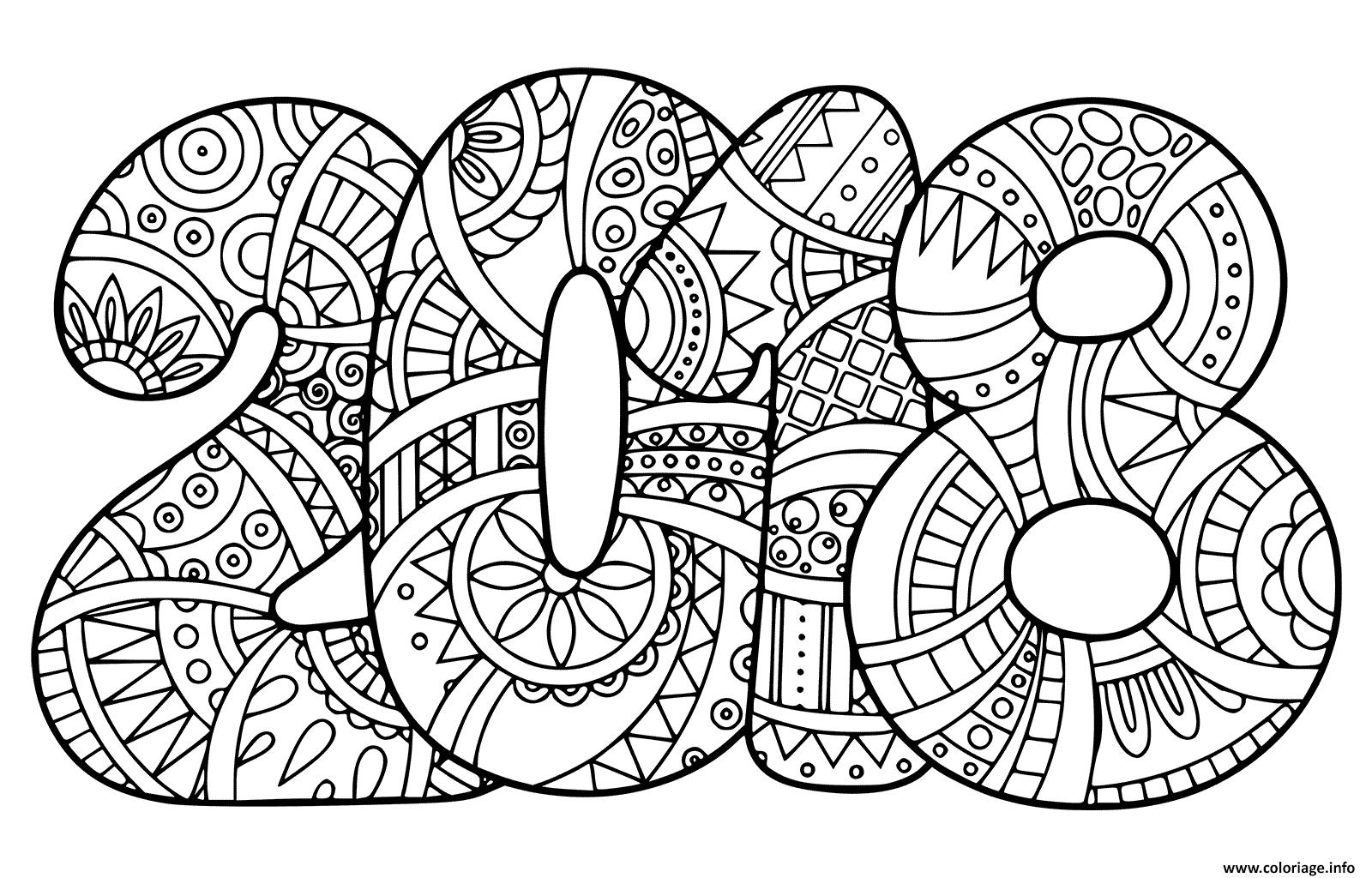 Coloriage nouvel an 2018 bonne annee dessin - Bonne annee coloriage ...