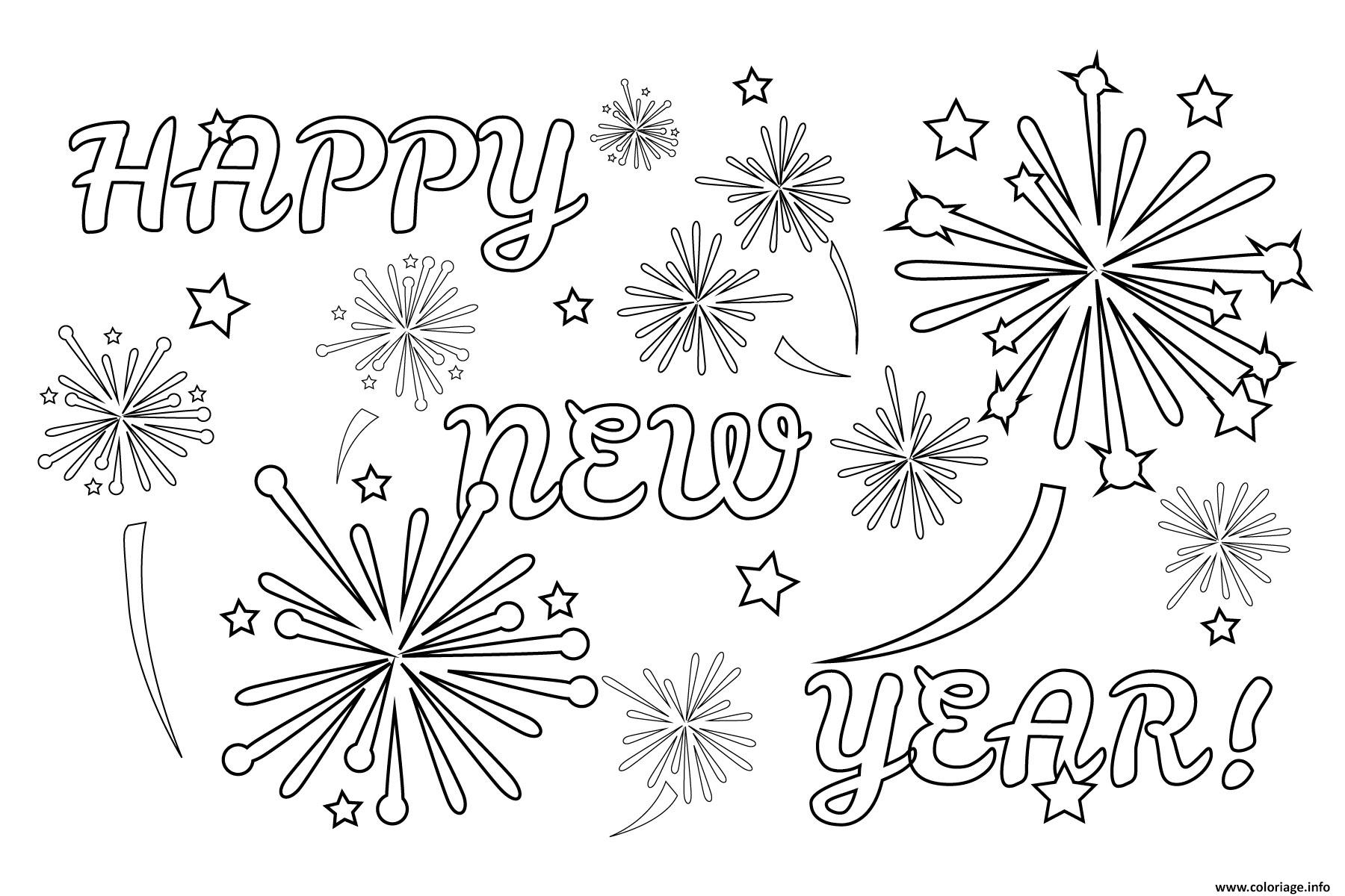 Coloriage Magique Happy New Year.Coloriage Happy New Year Fireworks Dessin