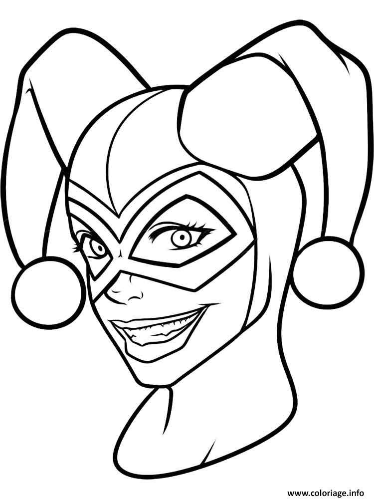 Dessin Harley Quinn Face Mask Coloriage Gratuit à Imprimer