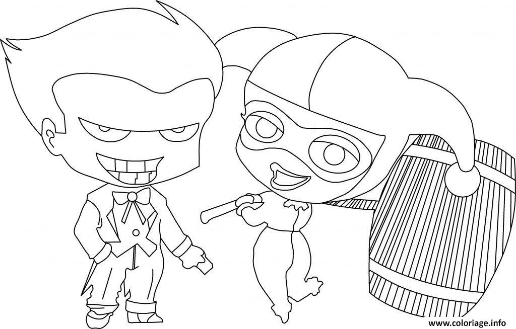 Dessin Harley Quinn with Joker Coloriage Gratuit à Imprimer