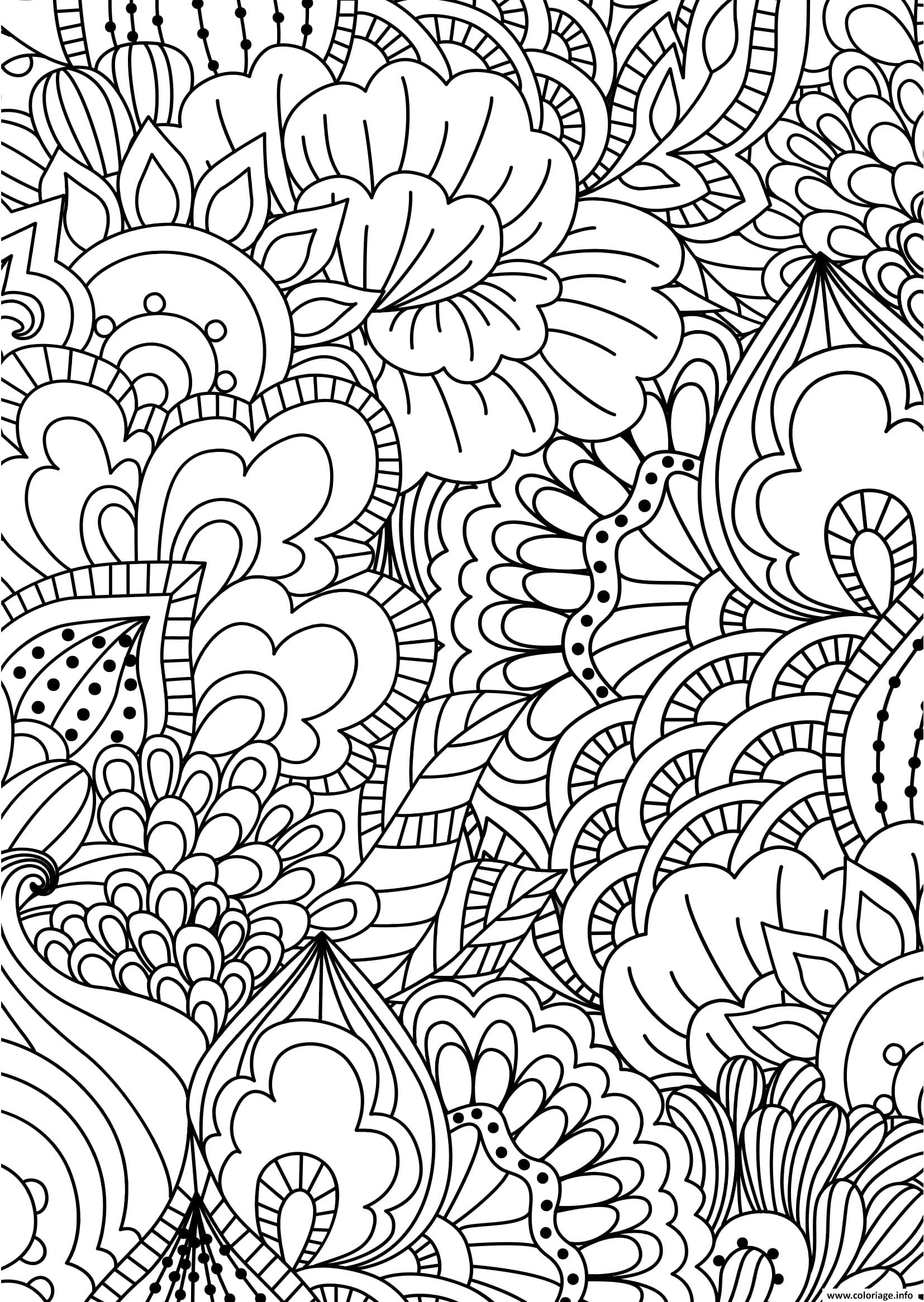 Dessin fleurs adulte pattern zentangle Coloriage Gratuit à Imprimer