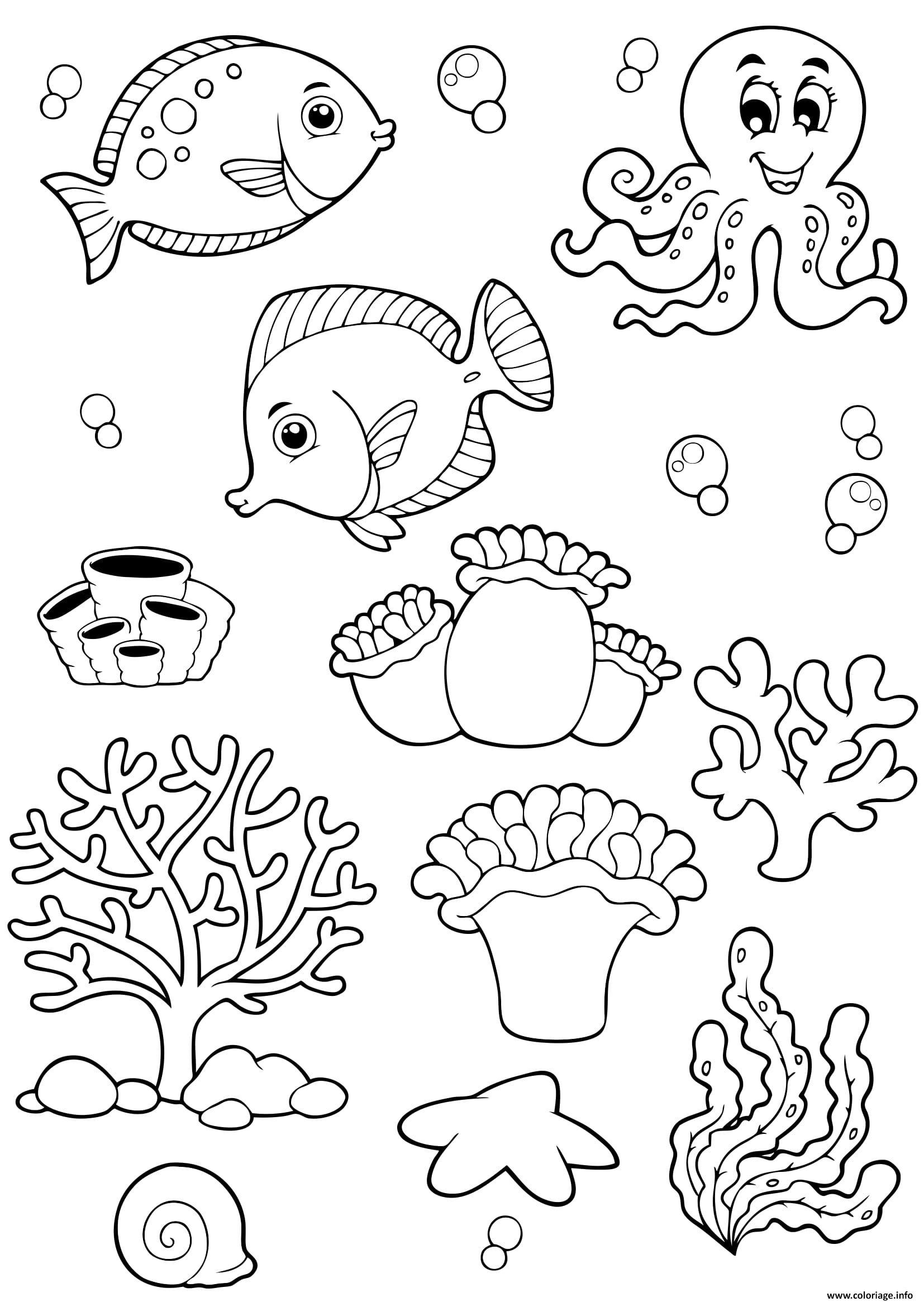 Coloriage Animaux De La Mer Ocean Poissons Enfants Jecolorie Com