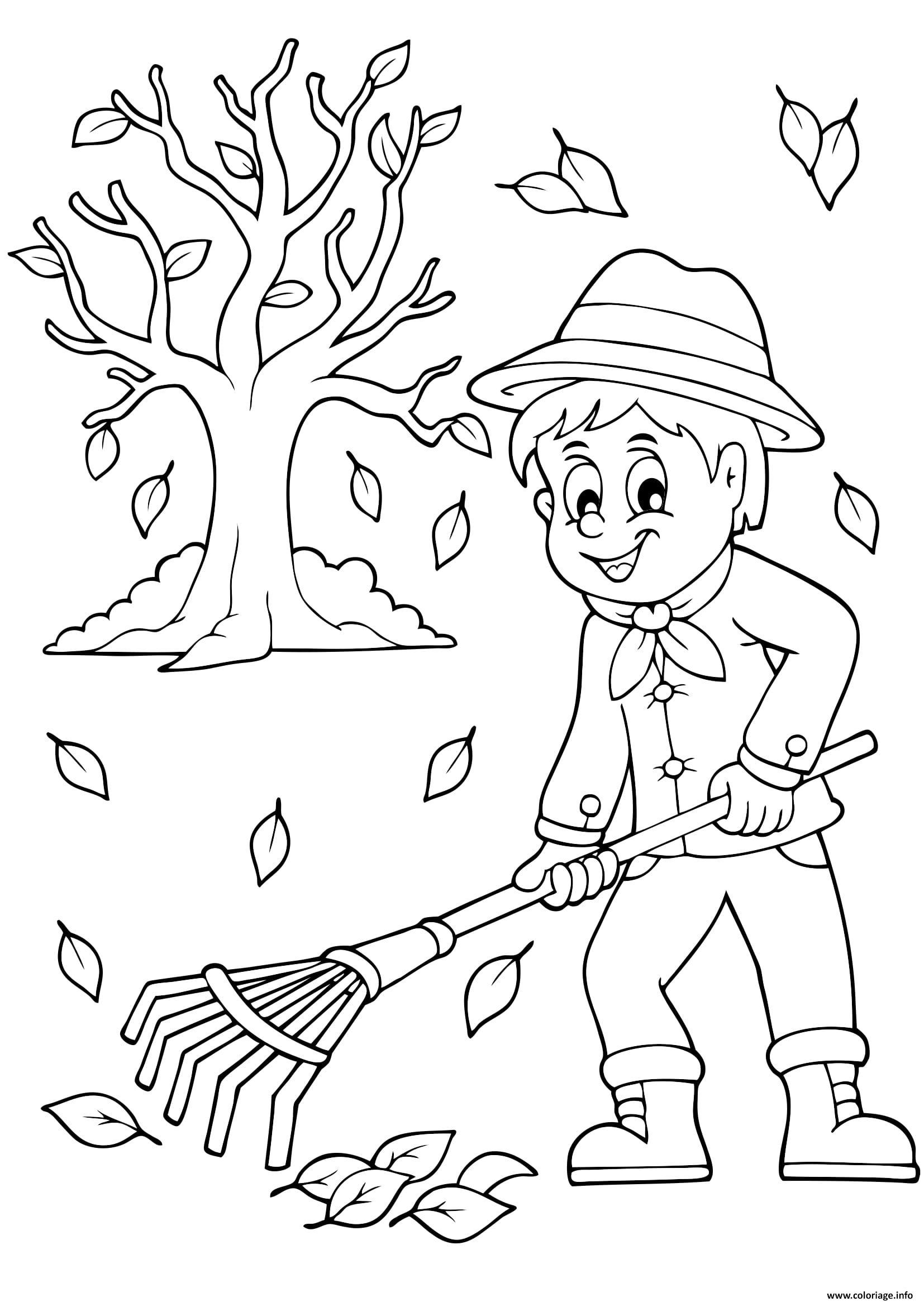 automne ramasser les feuilles coloriage dessin