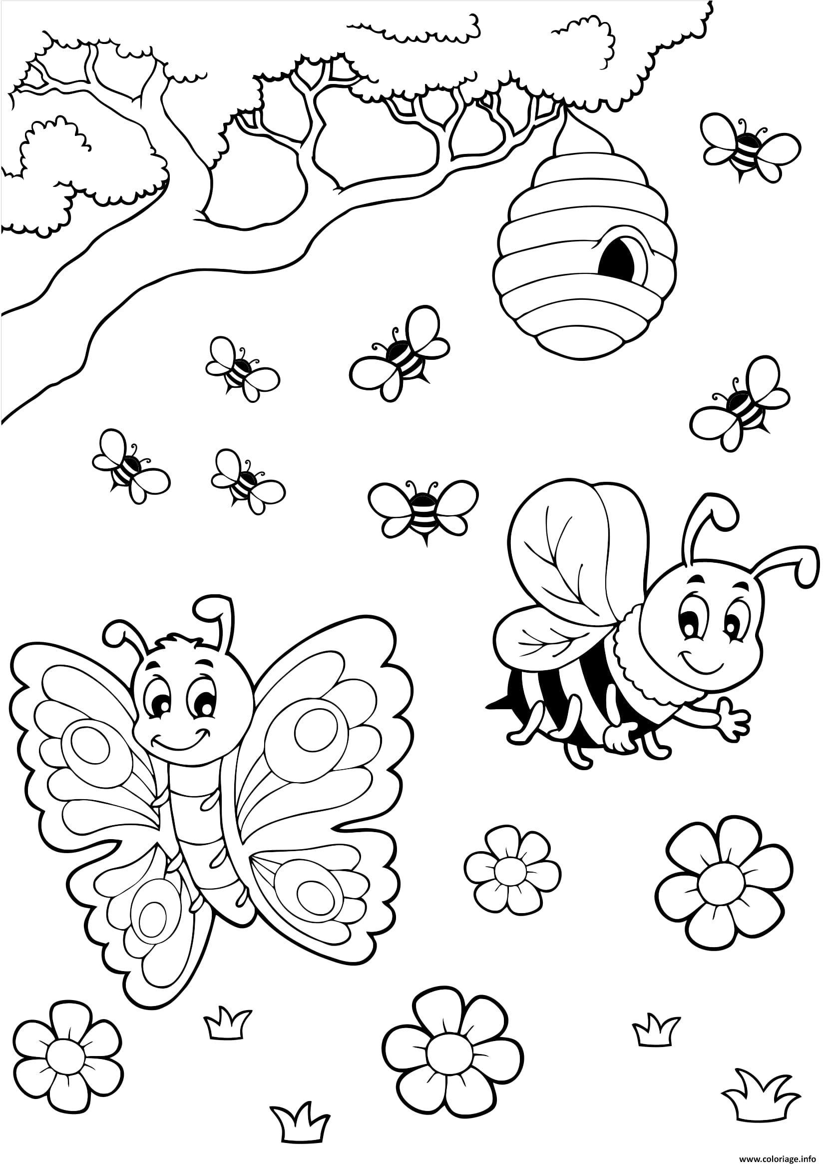 Coloriage papillon abeille miel dessin - Coloriage image ...