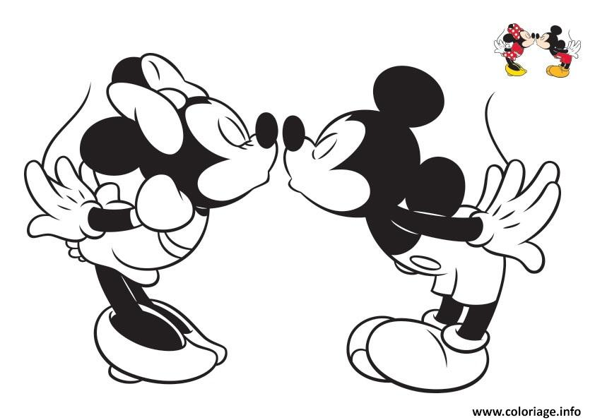 Coloriage Disney Bisou Mickey Et Minnie4 Jecolorie Com
