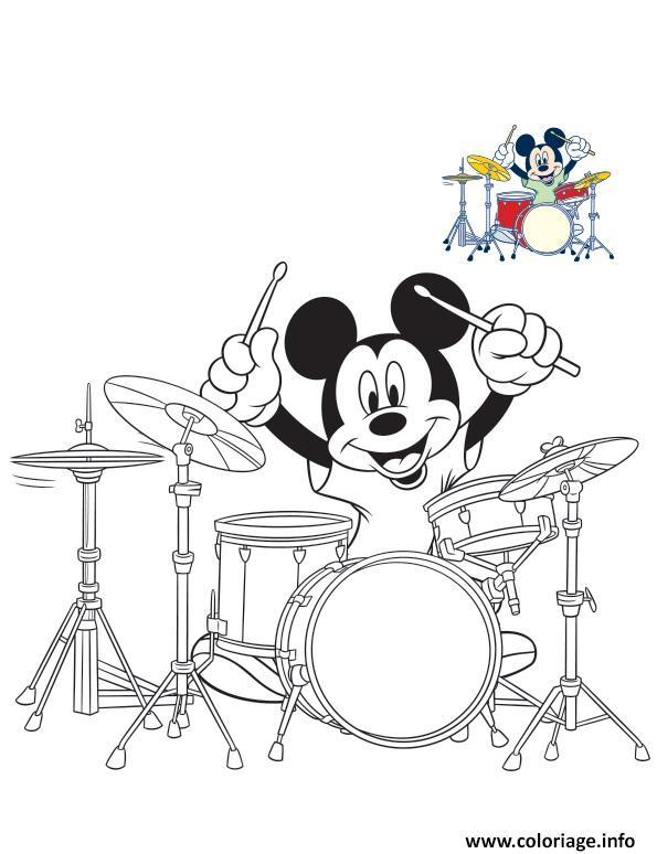 Dessin mickey mouse drum batterie Coloriage Gratuit à Imprimer