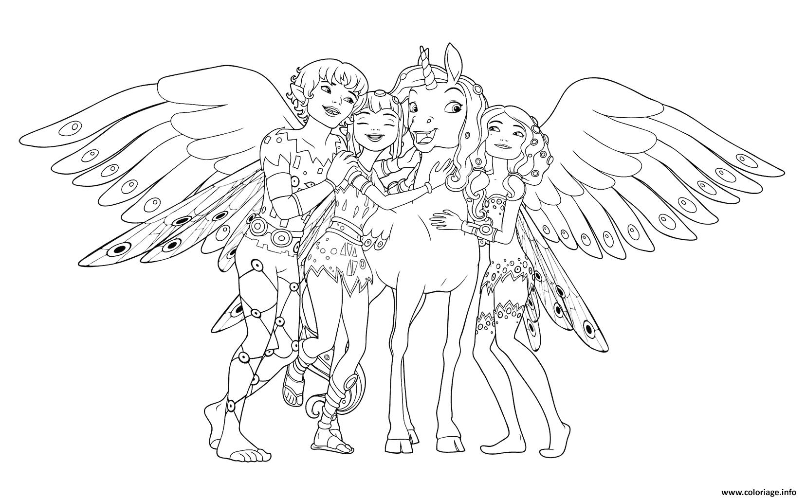 mia et moi avec ses amies coloriage dessin
