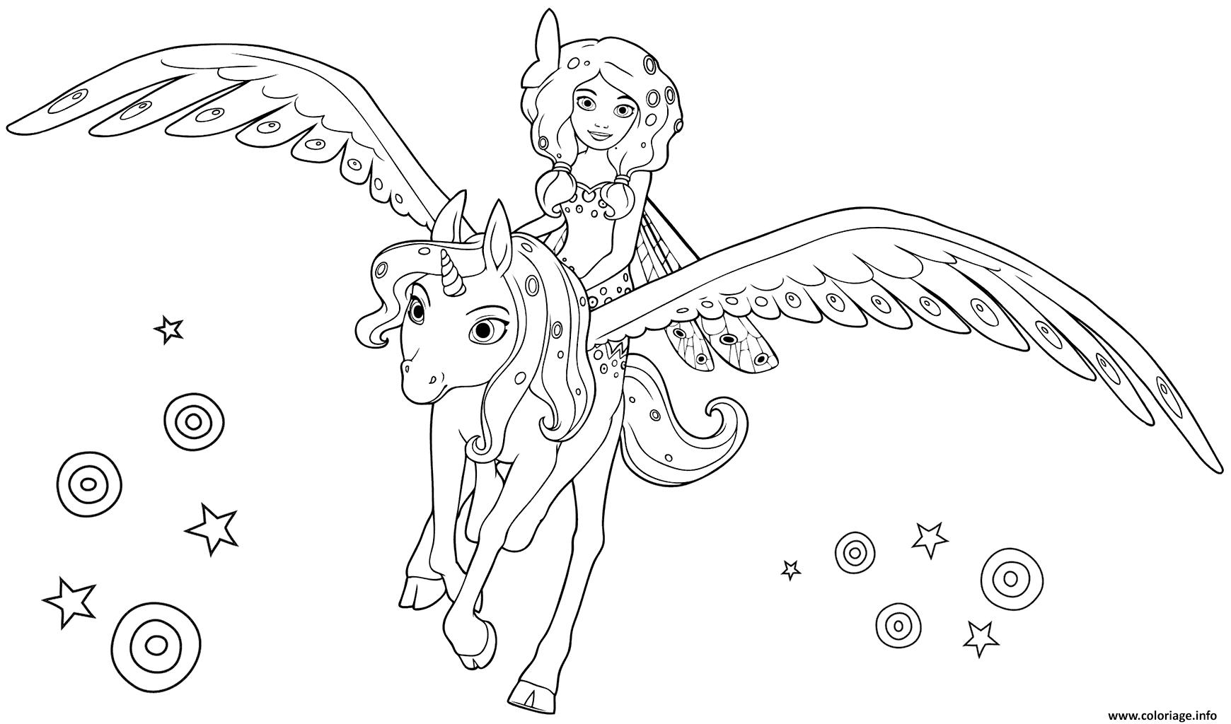 mia and me sur sa licorne coloriage dessin