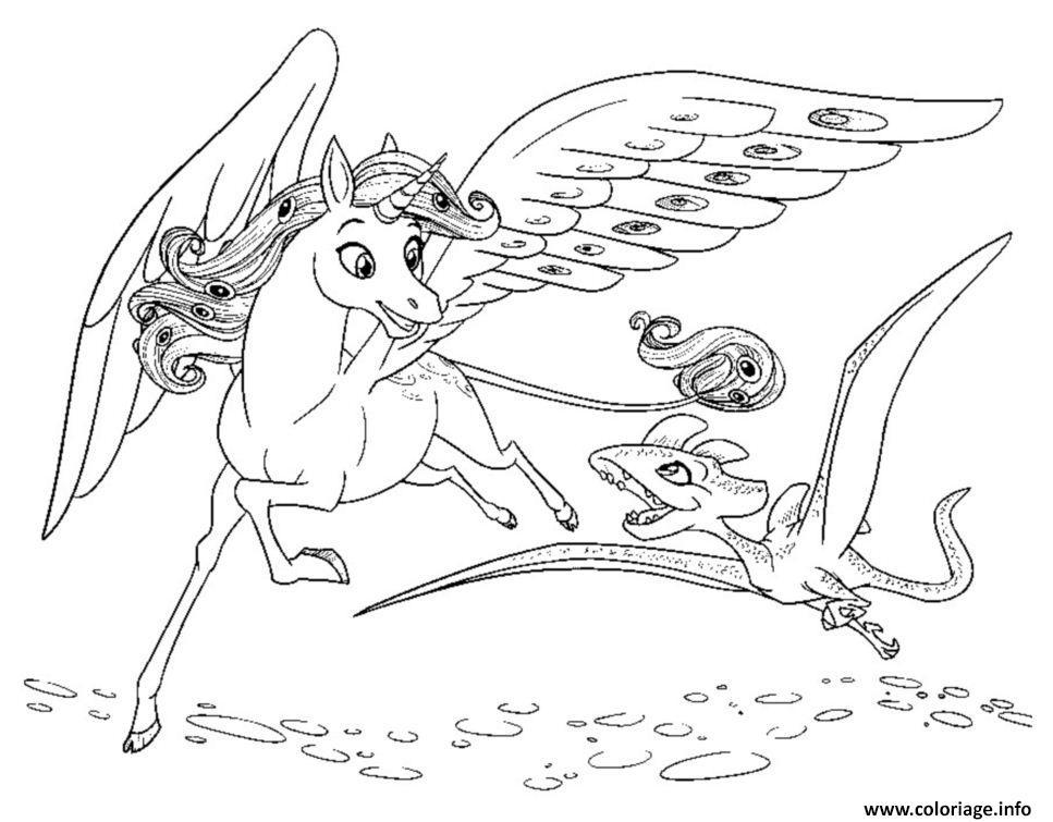 Dessin mia et moi onchao et petit dragon Coloriage Gratuit à Imprimer
