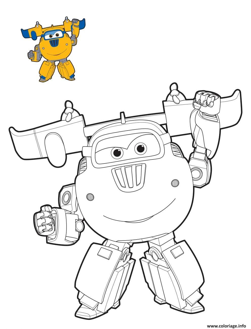 Coloriage Super Wings Donnie Mode Robot Dessin à Imprimer