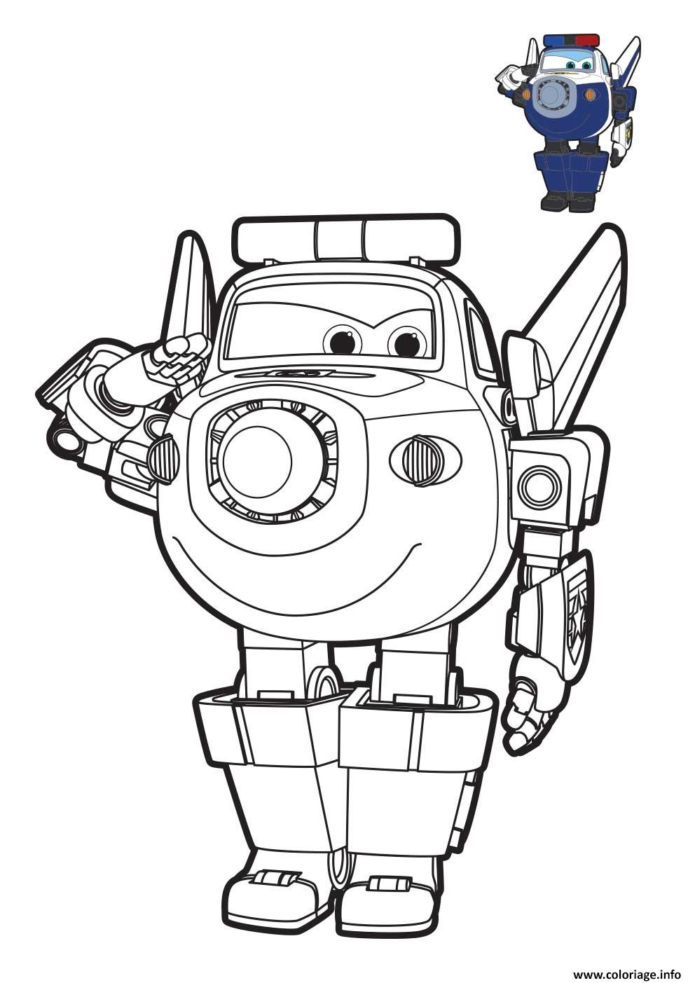 Coloriage Super Wings Paul Robot Dessin