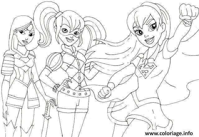 Coloriage Super Girls Katana Harley Quinn Supergirl