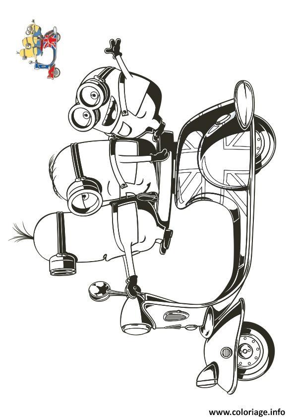 Coloriage les minions en route sur une moto - Dessin a imprimer moto ...