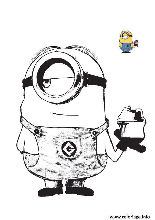 Coloriage minion aime la creme glace - Minion a dessiner ...