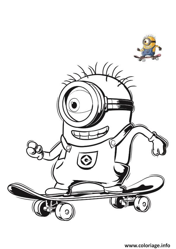 Coloriage Minion Sur Un Skate Board dessin