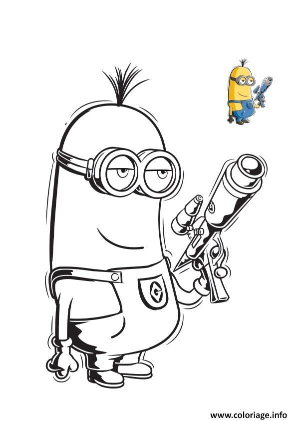 Coloriage minion est arme et tien un fusil - JeColorie.com