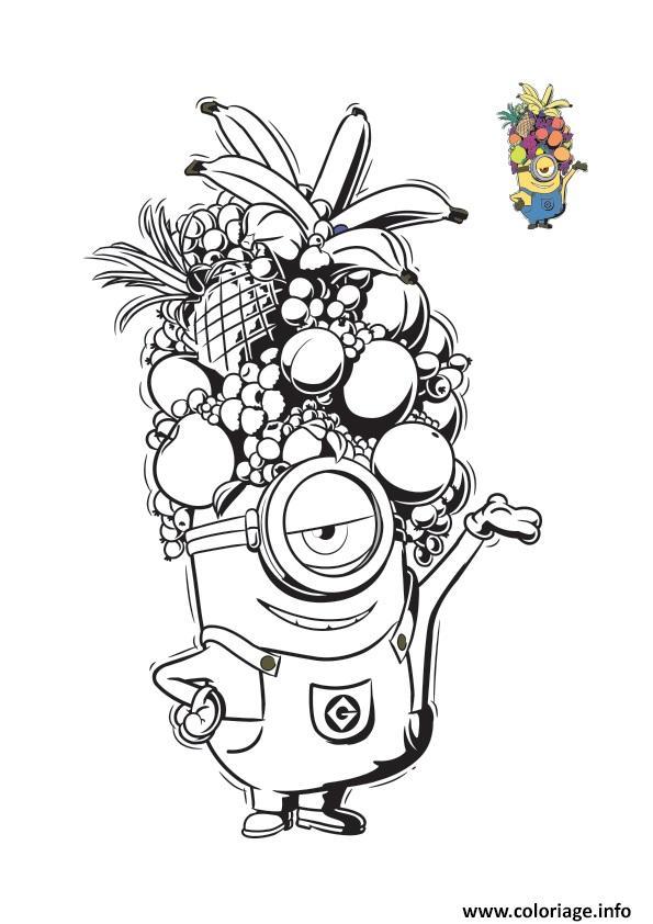 Coloriage Minion Avec Un Casque De Fruits Tropicals dessin