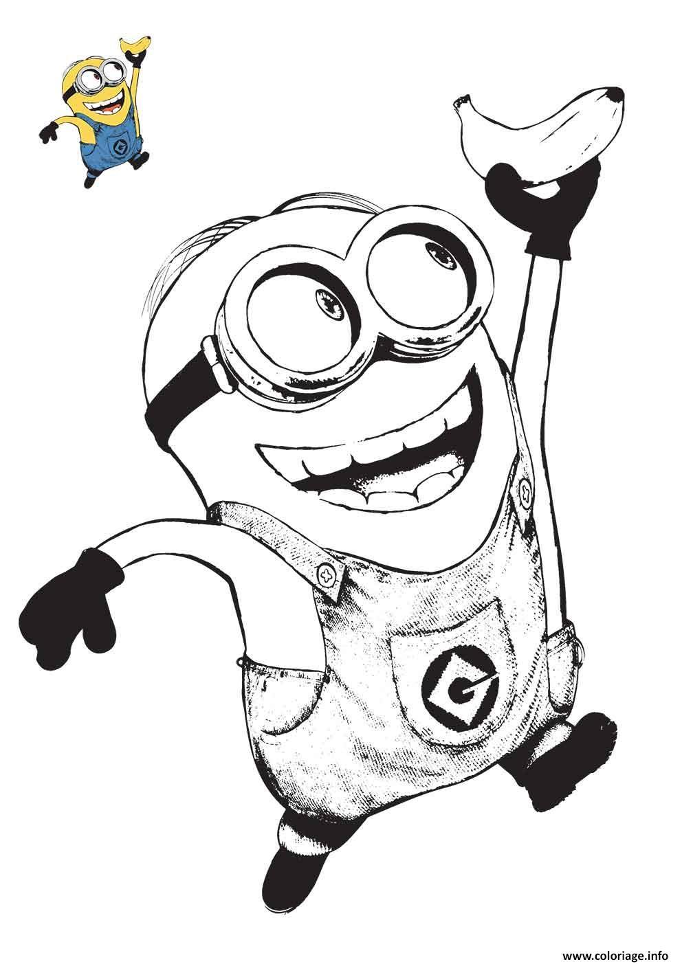 Coloriage minion tient une banane - Minion a imprimer ...
