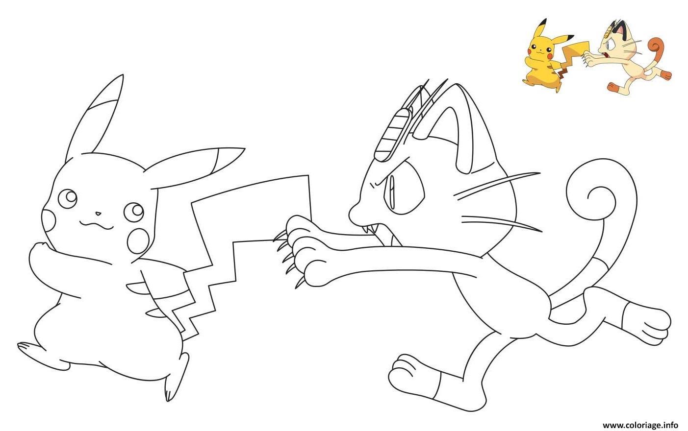 Dessin Miaouss court apres Pikachu Coloriage Gratuit à Imprimer