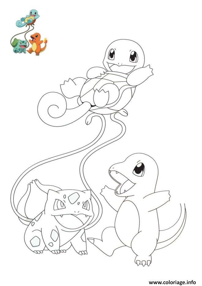 Coloriage Pokemon Bulbizarre Salameche Carapuce 1iere Generation