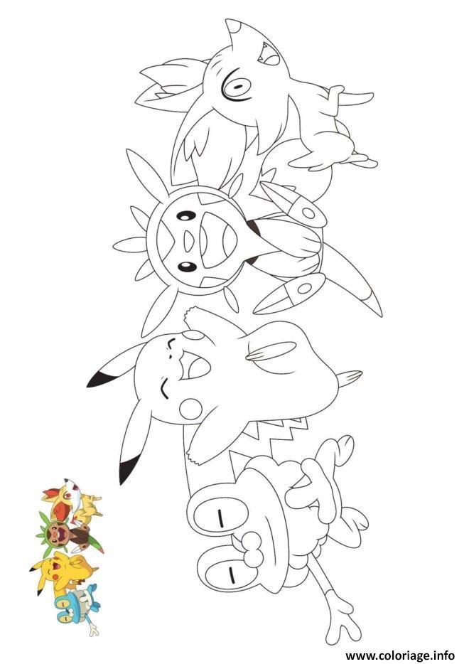 coloriage pokemon pikachu et nouvelle generation dessin