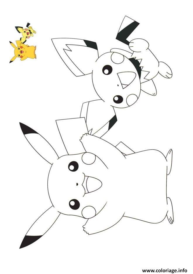 Dessin pokemon pikachu et raichu Coloriage Gratuit à Imprimer